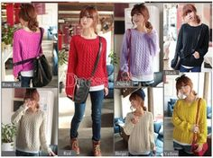 Women Pullover Jumper Casual Loose Sweater Knitwear Tops 6Colors