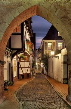 Romantic street with a paving stone road, Hildesheim Lower Saxony Germany Visit Germany, Germany Travel, Places To Travel, Places To See, Travel Destinations, Places Around The World, Around The Worlds, Beautiful World, Beautiful Places