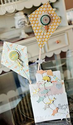 Other: Spring Kites Treat Bag featuring Pink Paislee's Prairie Hill Scrapbook Cards, Scrapbooking, Scrapbook Photos, Scrapbook Designs, Paper Crafts, Diy Crafts, Candy Cards, Scrapbook Embellishments, Home And Deco