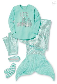 Every girl is a mermaid at heart! Make fantasies a reality with dreamy Sleepover Shop accessories! Cuddle up with paw-dorable sleepover accessories!Girls All Accessories Mermaid Outfit, Mermaid Clothes, Justice Accessories, Justice Clothing, Justice Outfits, Cute Pjs, Kids Outfits, Cute Outfits, Unicorns And Mermaids