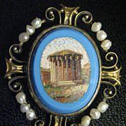 14K Gold Temple of Hercules Victor Micro Mosaic Pin