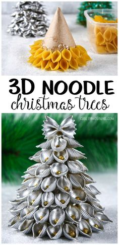 Make noodle pasta christmas trees for a christmas craft with the kids! So eas… Make noodle pasta christmas trees for a christmas craft with the kids! So easy and pretty for decorations. Unique christmas art project to make. Bow tie noodles and shells! Homemade Christmas Crafts, Christmas Art Projects, How To Make Christmas Tree, Decoration Christmas, Christmas Tree Crafts, Holiday Crafts, Christmas Pasta, Christmas Christmas, Craft Decorations