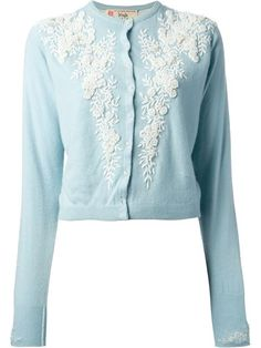 Pringle Of Scotland Vintage Floral Embroidered Cardigan - A.n.g.e.l.o Vintage | See more on my blue and white fashion wishlist here: http://mylusciouslife.com/frockage-blue-and-white-fashion-wishlist/