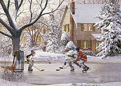 Canada - Ice Hockey on the Pond Winter Painting, Winter Art, Winter Pictures, Christmas Pictures, Hockey Drawing, Eagle Art, Winter Scenery, Christmas Scenes, Art For Art Sake
