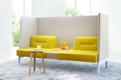 Inspiring Yellow Sofas To Perfect Living Room Color Schemes 29 - DecOMG Modular Furniture, Sofa Furniture, Furniture Ideas, Office Furniture Design, Yellow Office Furniture, Office Sofa, Luxury Furniture, Office Decor, Sofa Design