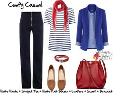 Love cobalt blue, black with red accents! French inspired, black pants, striped shirt, cobalt blazer, red scarf and bag with loafers.