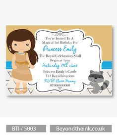 Personalised Pocahontas Invitations.  Printed on Professional 300 GSM smooth card with free envelopes & delivery as standard. www.beyondtheink.co.uk