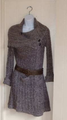 Cozy Upcycled Knit Sweater dress Jacket Coat cover up Refashioned Womens junior Country Chic design. $62.00, via Etsy.