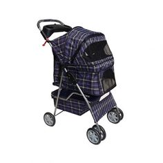 New Large Blue Plaid 4 Wheels Pet Dog Cat Stroller w/RainCover *** Check out this great image  (This is an amazon affiliate link. I may earn commission from it)