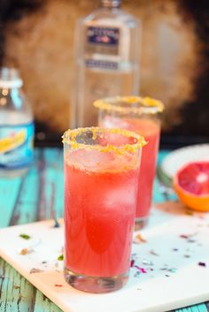 Blood Orange Gin Fizz - great seasonal cocktail from The Girl In The Little Red Kitchen