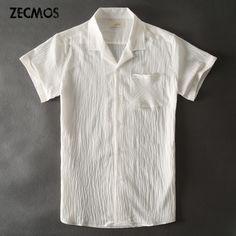 Zecmos Hawaiian White Casual Shirts Men Linen Short Sleeve Shirt Male Blouse #Affiliate