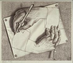 M.C. Escher  Drawing Hands  1948 Lithograph    Our first Project for Life Drawing 1 is to draw contour lines of our hand in different positions. It reminded me of M.C. Escher's famous artwork shown here.