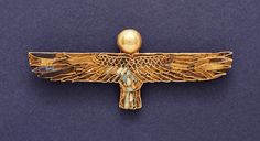 """ancientjewels: """" Ptolemaic Egyptian amulet depicting a """"Ba"""" or the personality aspect of a soul. Dating to around 332-30 BCE, it is made of gold with inlaid lapis lazuli, turquoise, and steatite. From..."""
