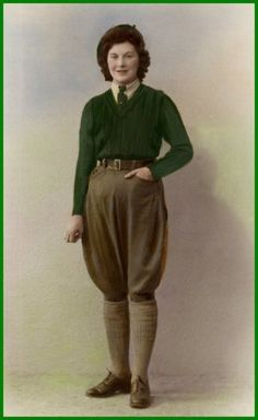Women joining the Women's Land Army (WLA) during WW1 were issued a simple uniform consisting of 2 green sweaters, 2 pairs of brown breeches (either twill or corduroy), 1 pair of brown overalls, 6 pairs of brown long woolen socks, 3 shirts, a green tie, a pair of shoes, a pair of ankle boots, a pair of tall boots, 2 overcoats, 1 raincoat,  and a brown floppy hat or beret. It was a civilian English/Wales organization that hired women to do farm functions since many men were at war.