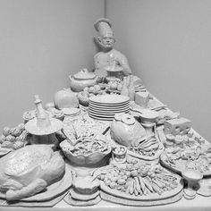 """Smorgi Bob, The Cook"" by Robert Arneson. 1971. White glazed earthenware."