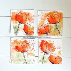 Easy Watercolor, Watercolor Artwork, Watercolor Cards, Watercolor Flowers, Doodle Paint, Pictures To Paint, Flower Cards, Mixed Media Art, Art Lessons