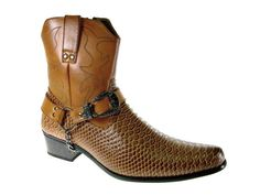 Alfa Men's M1734 Faux Snake Skin Western Cowboy Boots with Belted Chain - Brown 10 D(M) US