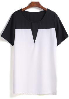 Colour-block Short Sleeve Chiffon Blouse 9.99
