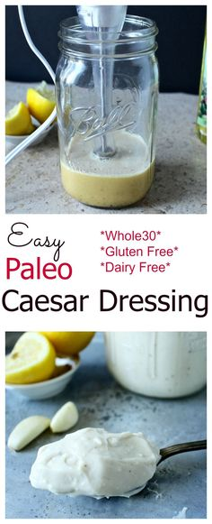 Dressing Easy Paleo Caesar Dressing- thick, creamy and the best caesar dressing you'll ever have! Made in under 5 minutes!Easy Paleo Caesar Dressing- thick, creamy and the best caesar dressing you'll ever have! Paleo Whole 30, Whole 30 Recipes, Whole Food Recipes, Cooking Recipes, Diet Recipes, Comidas Paleo, Dieta Paleo, Paleo Dressing, Gluten Free Salad Dressing