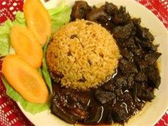 Pepperpot with Rice & Peas Indian Foods, Indian Dishes, Indian Food Recipes, Ethnic Recipes, Jamaica Recipes, Jamaica Food, Caribbean Food, Caribbean Recipes, Pasta Sides