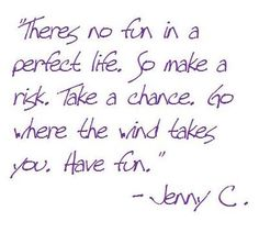There's no fun in a perfect life. So make a risk. Take a chance. Go where the wind takes you. Have fun.