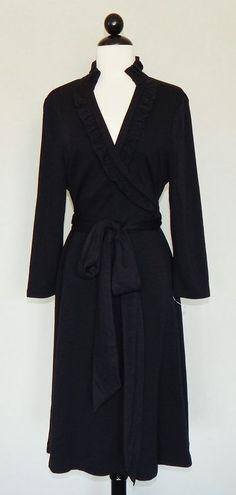 BANANA REPUBLIC Black Wool Blend Knit Faux Wrap Ruffle Neck Sweater Dress  M L ? #BananaRepublic #SweaterDress #LittleBlackDress