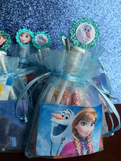 Olaf and Anna Halloween Frozen themed treat bag 2014 - mesh #Halloween #Frozen #party