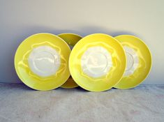 Vintage russian yellow saucers, set of 4 Soviet Union small plates, RPR Riga porcelain USSR 1970s