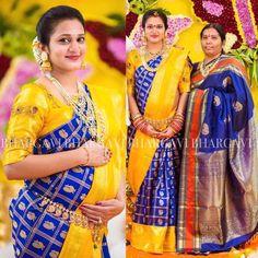 Bhargavi Kunam - Defining Elegance With Her Kanjeevaram Silk Saree Collection Half Saree Designs, Lehenga Designs, Saree Blouse Designs, Blouse Patterns, Indian Attire, Indian Wear, Indian Outfits, Kuppadam Pattu Sarees, Indian Sarees