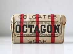 vintage Octagon soap Unopened wrapped by Luncheonettevintage, Vintage Love, Vintage Decor, Vintage Stuff, Washing Soap, Art Deco Home, Red Stripes, Lettering, Typography