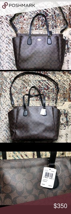 921aad86a0 Coach baby bag NWT Signature coach baby bag Brown & black Original price  $495.00 Coach Bags