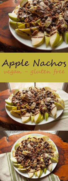 Apple Nachos - This guilt free vegan dessert will not only satisfy your sweet tooth, but provide you with a healthy treat! Healthy Dessert Recipes, Healthy Treats, Vegan Desserts, Vegan Recipes, Food Menu, Guilt Free, Nachos, Room, Create