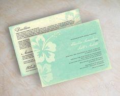 Destination wedding invitation, beach wedding stationery, beach invite, beach wedding invitations, tropical, hibiscus, mint green, Malia
