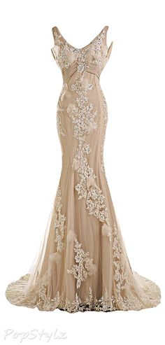 Sunvary  Champagne Chiffon & Lace Mermaid Wedding Bride Gown