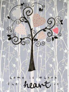 Home is where the heart is. Tu hogar está donde está el corazón. Lámina handmade ♥