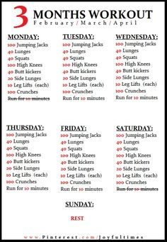 At-home workouts planned for a week