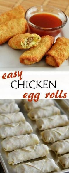 Chicken egg rolls that are so easy to make and so good! This one would be good cause you can make a million, freeze them, and have delicious egg rolls any time! Comida Filipina, Chicken Egg Rolls, Oven Chicken, Chicken Wontons, Egg Rolls Baked, Chicken Eggs, Egg Roll Recipes, Cake Recipes, Recipes With Egg Roll Wrappers