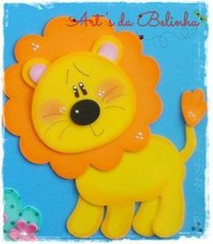 Leão de eva com molde