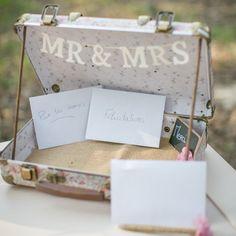 Urne de mariage rose liberty, valise de mariage, valise rétro mariage pour cartes et enveloppes