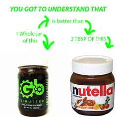 A whole bottle of G butter has 900 calories, 90 grams of protein and only 9 grams of sugar(from cashews)  Nutella 12 oz bottle has 2400 calories and 210 grams of refined sugar.