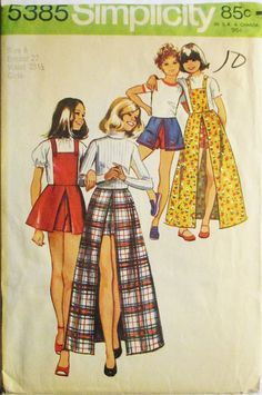 1970s Vintage Sewing Pattern Simplicity 5385 Girls Pantskirt Pattern With Detachable Bib Size 8 Breast 27 by SewYesterdayPatterns on Etsy
