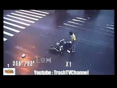 A ninja avoids certain death in motorcycle accident by performing an amazing flip - and lands on his feet!