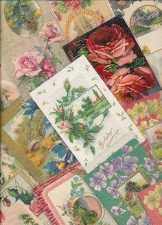 Lot of 20 Lovely Vintage Antique Flowers & Scenes Greetings Postcards-eee328