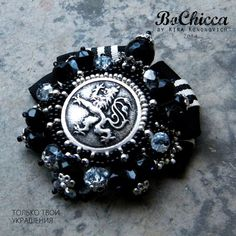 #handmade #brooch #black #silver #heraldic #lion #button #agate #glass #beads #Russian #designer