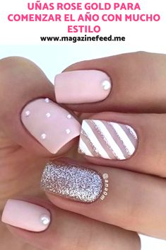Rose Gold nails to start the year in Square Nail Designs, Fall Nail Art Designs, Creative Nail Designs, Short Nail Designs, Creative Nails, Aycrlic Nails, Pink Nails, Cute Nails, Semi Permanente