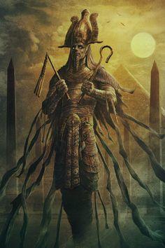 Ancient Alien Wars: The First Anunnaki Egyptian Pyramid War (Part Egyptian Mythology, Ancient Egyptian Art, Osiris Tattoo, Tattoo Avant Bras, Egypt Concept Art, Tomb Kings, Mythology Tattoos, Egypt Art, Dark Fantasy Art