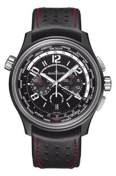 Jaeger-LeCoultre AMVOX5 World Chronograph Aston Martin Cermet men's watch equipped with Swiss-made JLC 752 calibre automatic movement. The 44mm cermet case and bezel features a black dial with black a