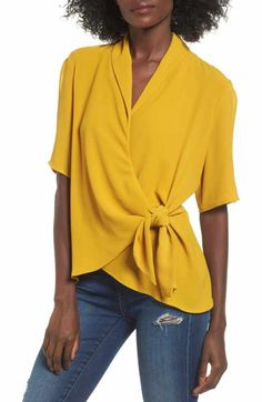 Free shipping and returns on Moon River Satin Wrap Top at Nordstrom.com. Shimmering yellow satin lights up a lustrous wrap top styled with fluttery sleeves and beautiful crocheted lace at the hem.
