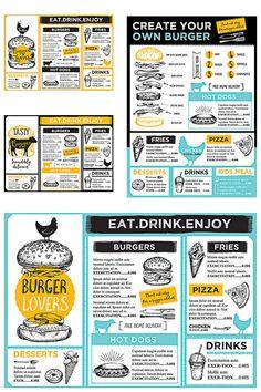 Carta Restaurant, Restaurant Menu Template, Restaurant Menu Design, Restaurant Branding, Burger Menu, Burger Restaurant, Burger Bar, Pizza Branding, Identity Branding