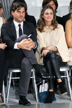 Olivia Palermo & Johannes Huebl: A (Very Cute) History #refinery29  http://www.refinery29.com/2014/06/70430/olivia-palermo-wedding-pictures-johannes-huebl#slide6  And, here, mimicking each other's body language/being very proper.